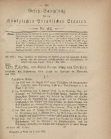 Gesetz-Sammlung für die Königlichen Preussischen Staaten, 8. Juni, 1882, nr. 22.