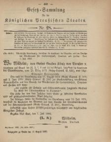 Gesetz-Sammlung für die Königlichen Preussischen Staaten, 17. August, 1882, nr. 28.