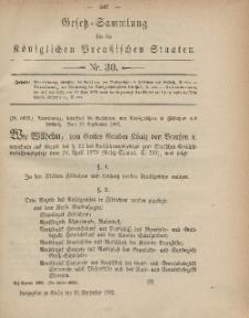Gesetz-Sammlung für die Königlichen Preussischen Staaten, 27. September, 1882, nr. 30.