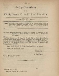 Gesetz-Sammlung für die Königlichen Preussischen Staaten, 6. Oktober, 1882, nr. 31.