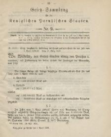 Gesetz-Sammlung für die Königlichen Preussischen Staaten, 1. April 1886, nr. 9.