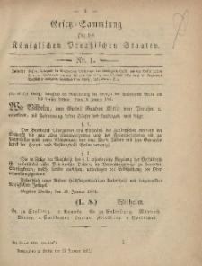 Gesetz-Sammlung für die Königlichen Preussischen Staaten, 25. Januar, 1881, nr. 1.