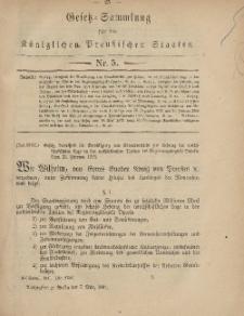 Gesetz-Sammlung für die Königlichen Preussischen Staaten, 7. März, 1881, nr. 5.