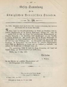Gesetz-Sammlung für die Königlichen Preussischen Staaten, 16. Juni 1886, nr. 20.