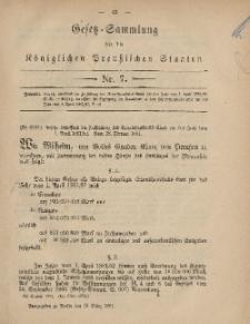 Gesetz-Sammlung für die Königlichen Preussischen Staaten, 18. März, 1881, nr. 7.