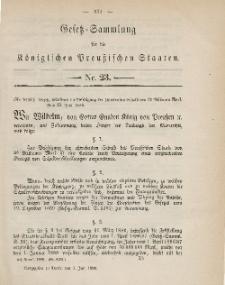 Gesetz-Sammlung für die Königlichen Preussischen Staaten, 1. Juli 1886, nr. 23.