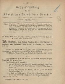Gesetz-Sammlung für die Königlichen Preussischen Staaten, 24. März, 1881, nr. 9.