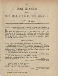 Gesetz-Sammlung für die Königlichen Preussischen Staaten, 25. März, 1881, nr. 10.