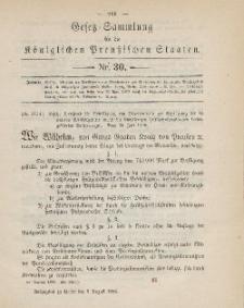 Gesetz-Sammlung für die Königlichen Preussischen Staaten, 9. August 1886, nr. 30.