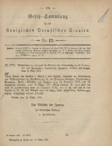 Gesetz-Sammlung für die Königlichen Preussischen Staaten, 31. März, 1881, nr. 12.