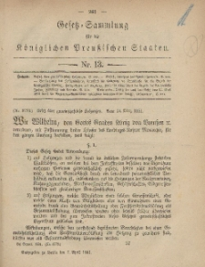 Gesetz-Sammlung für die Königlichen Preussischen Staaten, 7. April, 1881, nr. 13.