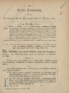 Gesetz-Sammlung für die Königlichen Preussischen Staaten, 16. April, 1881, nr. 14.