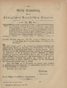 Gesetz-Sammlung für die Königlichen Preussischen Staaten, 2. Juni, 1881, nr. 16.