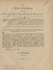 Gesetz-Sammlung für die Königlichen Preussischen Staaten, 15. Juni, 1881, nr. 17.