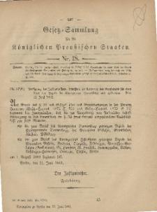 Gesetz-Sammlung für die Königlichen Preussischen Staaten, 22. Juni, 1881, nr. 18.