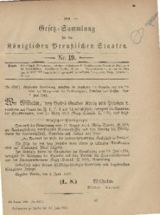 Gesetz-Sammlung für die Königlichen Preussischen Staaten, 29. Juni, 1881, nr. 19.