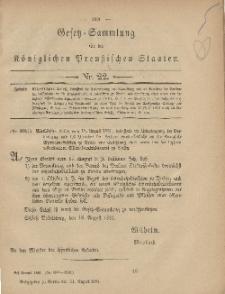 Gesetz-Sammlung für die Königlichen Preussischen Staaten, 31. August, 1881, nr. 22.