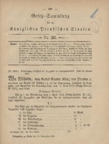 Gesetz-Sammlung für die Königlichen Preussischen Staaten, 19. November, 1881, nr. 26.