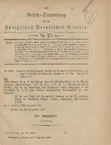Gesetz-Sammlung für die Königlichen Preussischen Staaten, 17. Dezember, 1881, nr. 27.