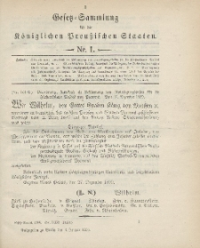 Gesetz-Sammlung für die Königlichen Preussischen Staaten, 4. Januar 1900, nr. 1.