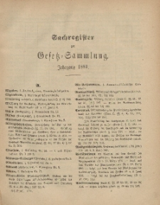 Gesetz-Sammlung für die Königlichen Preussischen Staaten (Sachregister), 1881