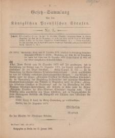 Gesetz-Sammlung für die Königlichen Preussischen Staaten, 12. Januar, 1880, nr. 1.