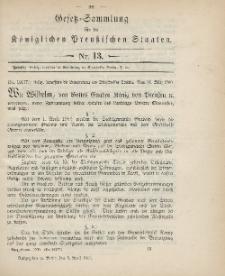 Gesetz-Sammlung für die Königlichen Preussischen Staaten, 3. April 1900, nr. 13.