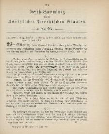 Gesetz-Sammlung für die Königlichen Preussischen Staaten, 12. Juli 1900, nr. 25.