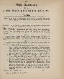 Gesetz-Sammlung für die Königlichen Preussischen Staaten, 17. Juli 1900, nr. 27.