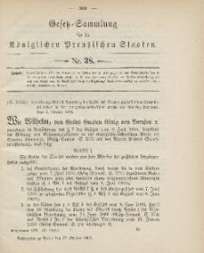 Gesetz-Sammlung für die Königlichen Preussischen Staaten, 23. Oktober 1900, nr. 38.