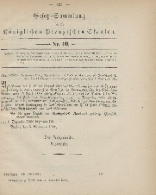 Gesetz-Sammlung für die Königlichen Preussischen Staaten, 14. November 1900, nr. 40.