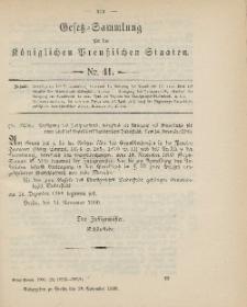 Gesetz-Sammlung für die Königlichen Preussischen Staaten, 28. November 1900, nr. 41.