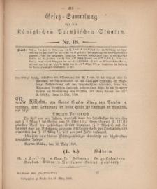 Gesetz-Sammlung für die Königlichen Preussischen Staaten, 31. März, 1880, nr. 18.