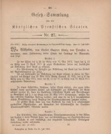 Gesetz-Sammlung für die Königlichen Preussischen Staaten, 21. Juli, 1880, nr. 27.
