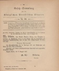 Gesetz-Sammlung für die Königlichen Preussischen Staaten, 8. September, 1880, nr. 31.