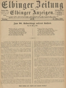 Elbinger Zeitung und Elbinger Anzeigen, Nr. 68 Dienstag 22. März 1887