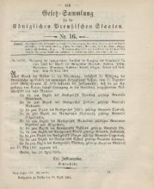 Gesetz-Sammlung für die Königlichen Preussischen Staaten, 30. April 1901, nr. 16.