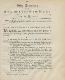 Gesetz-Sammlung für die Königlichen Preussischen Staaten, 3. Juni 1901, nr. 19.