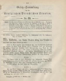 Gesetz-Sammlung für die Königlichen Preussischen Staaten, 11. November 1901, nr. 33.
