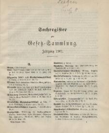 Gesetz-Sammlung für die Königlichen Preussischen Staaten (Sachregister), 1901