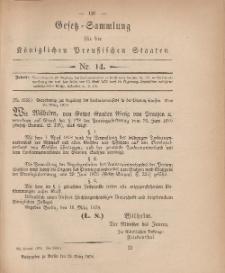 Gesetz-Sammlung für die Königlichen Preussischen Staaten, 23. März, 1878, nr. 14.