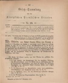 Gesetz-Sammlung für die Königlichen Preussischen Staaten, 5. September, 1878, nr. 26.