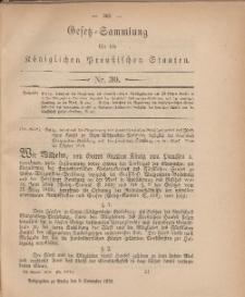 Gesetz-Sammlung für die Königlichen Preussischen Staaten, 9. November, 1878, nr. 30.