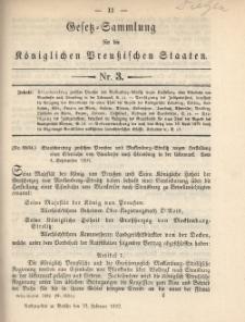 Gesetz-Sammlung für die Königlichen Preussischen Staaten, 23. Februar 1892, nr. 3.