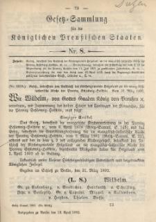 Gesetz-Sammlung für die Königlichen Preussischen Staaten, 13. April 1892, nr. 8.