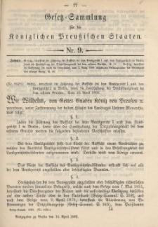 Gesetz-Sammlung für die Königlichen Preussischen Staaten, 16. April 1892, nr. 9.