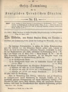 Gesetz-Sammlung für die Königlichen Preussischen Staaten, 4. Mai 1892, nr. 11.