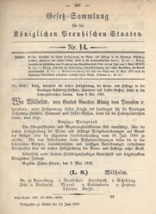Gesetz-Sammlung für die Königlichen Preussischen Staaten, 13. Juni 1892, nr. 14.