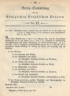 Gesetz-Sammlung für die Königlichen Preussischen Staaten, 21. Juni 1892, nr. 17.