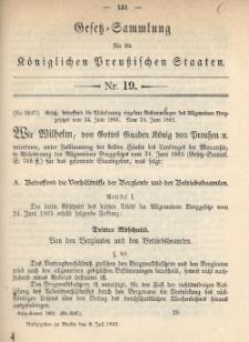 Gesetz-Sammlung für die Königlichen Preussischen Staaten, 8. Juli 1892, nr. 19.